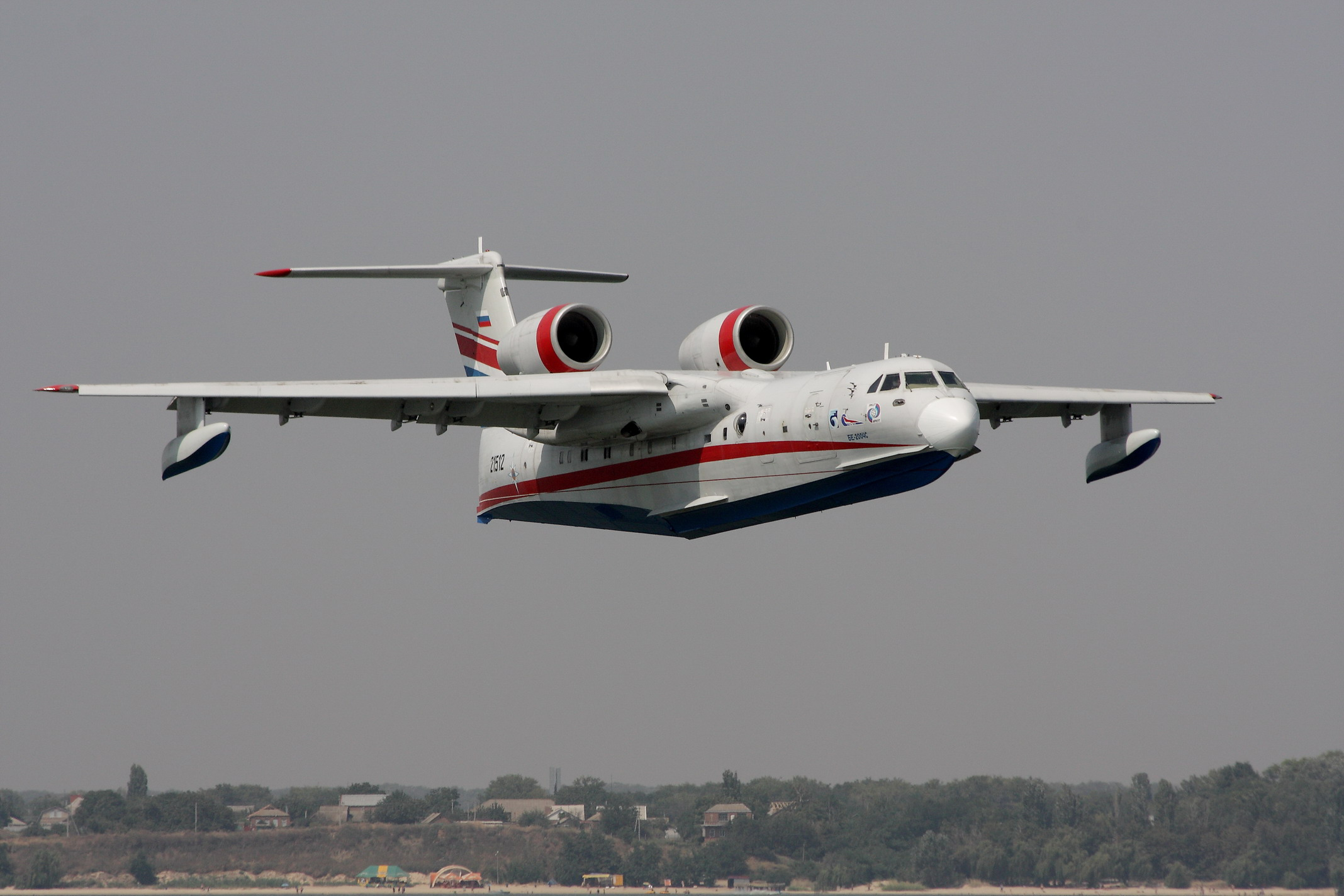 Be-200ES amphibian aircraft of Beriev Aircarft Company participates in forest fire-fighting operations in Russia